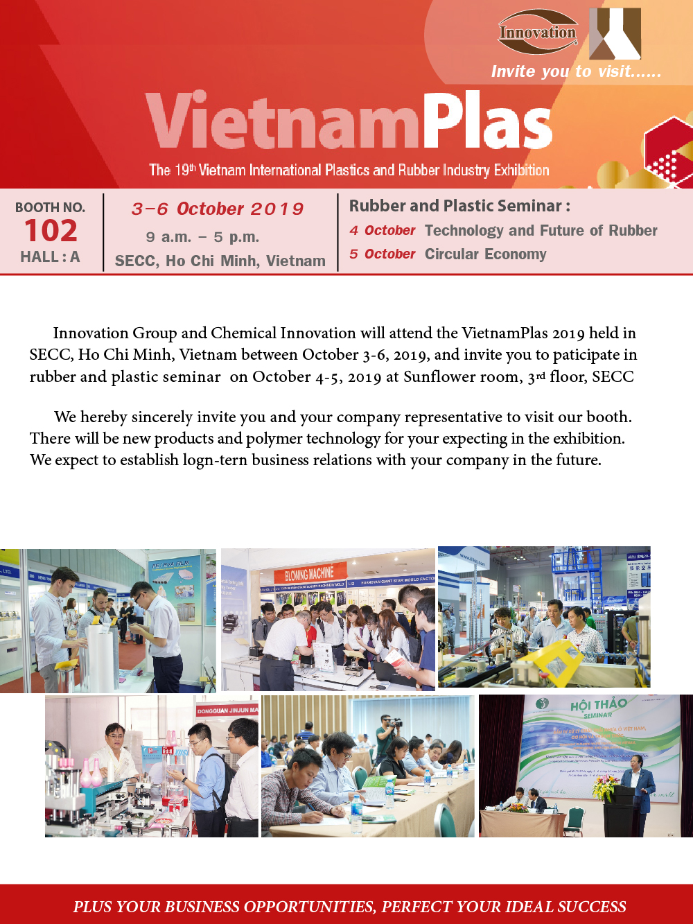 Innovation Group and Chemical Innovation will attend the VietnamPlas 2019